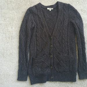 madewell chunky cableknit v neck button  cardigan